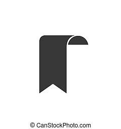 segnalibro, segno, contorno, pieno, simbolo, vettore, icona