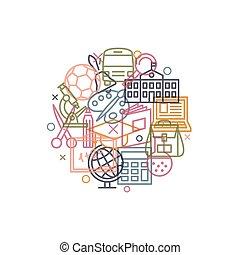segni, concetto, scuola, stile, linea, icone