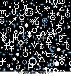 segni, seamless, kabbalistic, caotico, pattern., mistico, astrologico, symbols., geroglifico