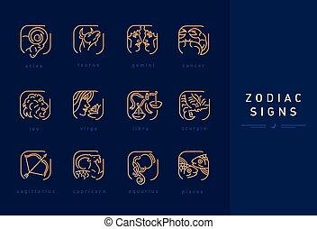 segni, zodiaco, set, astrologico, icone
