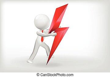 segno, 3d, vettore, disegno, potere, logotipo, bianco, uomo, illuminazione