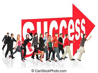 segno, affari persone, themed, successo, collage, corsa, seguente, freccia