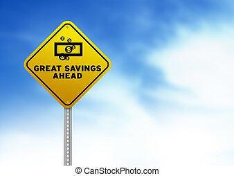 segno, avanti, strada, grande, risparmi