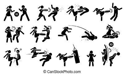 segno, battito, donna uomo, symbols., figura, bastone