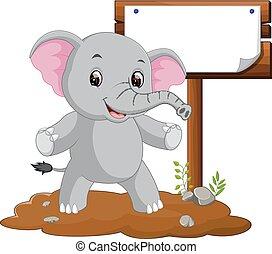 segno bianco, cartone animato, elefante