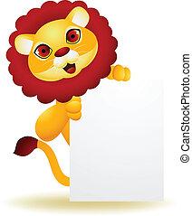 segno bianco, leone, cartone animato