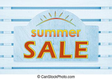 segno blu, tipo, vendita, legno, messaggio, estate