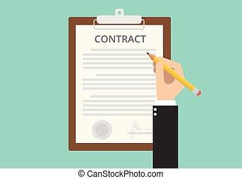 segno, carta, documento, contratto, firmare