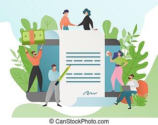segno, contract., essere d'accordo, caratteri affari, handshake., donna, accordo, illustrazione, vettore, persone, stato accordo, uomo, cartone animato, affare