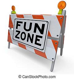 segno, costruzione, divertimento, zona parco, barricata, bambini
