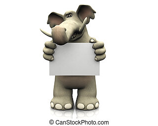 segno., elefante, cartone animato, vuoto