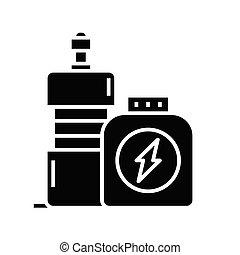 segno., illustrazione, concetto, glyph, nero, sport, appartamento, icona, nutrizione, vettore, simbolo