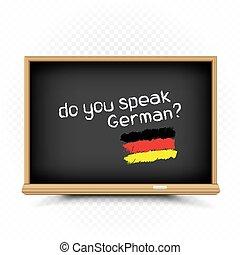 segno, lezioni, scuola, tedesco, disegnare, lavagna