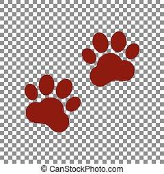 segno., marrone, fondo., piste, animale, trasparente, icona