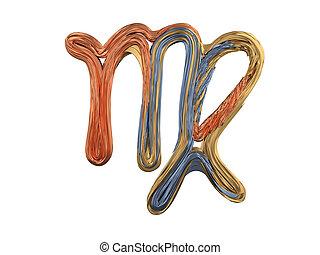 segno., metallo, simbolo., vergine, zodiaco, astratto, 3d