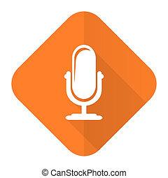 segno, microfono, arancia, podcast, icona, appartamento