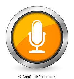 segno, microfono, arancia, podcast, icona