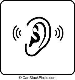 segno, -, orecchio, vettore, silhouette