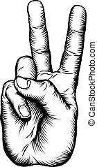 segno pace, vittoria, v, mano, o, saluto