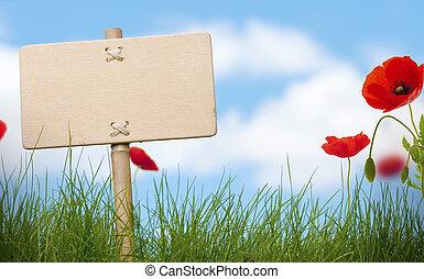 segno, papaveri, testo, cielo blu, erba, legno, fiori, verde, nubi, vuoto, stanza, sfocato