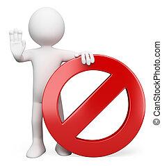 segno, persone., proibito, 3d, bianco