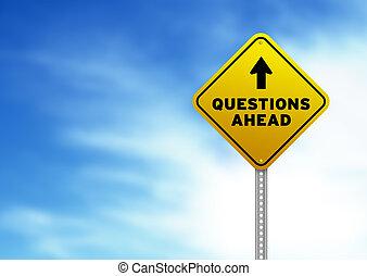 segno strada, avanti, domande