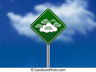 segno strada, nuvola, servizi