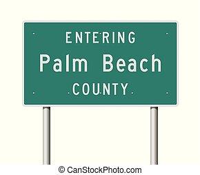 segno, strada, palma, contea, entrare, spiaggia