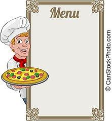 segno, uomo, pizza, fondo, cuoco, menu, chef, cartone animato