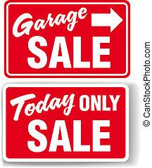 segno vendita, garage, soltanto, freccia, oggi