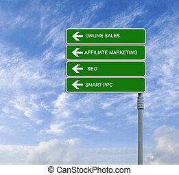 segno, vendite, strada, linea