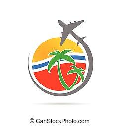 segno, vettore, aeroplano, viaggiare