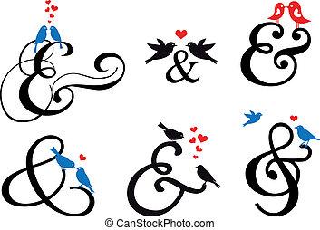 segno, vettore, uccelli, ampersand