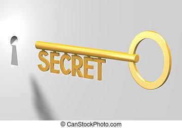 segreto, concetto, -, chiave, 3d
