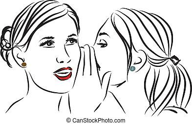 segreto efficace, illustrazione, donne