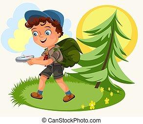 seguente, cartone animato, bambini, foresta, bussola