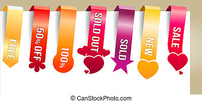 sei, verticale, colorare, testo, etichette, promozione