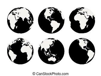 sei, vettore, nero, globi, terra, bianco