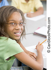 (selective, focus), classe, studente, scrittura