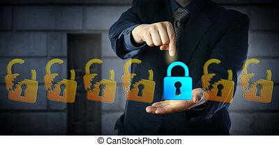 selezione, cyber, direttore, chiuso, serratura, sicurezza, maschio