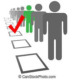 selezione, persone, scatole, scegliere, voto, elezione