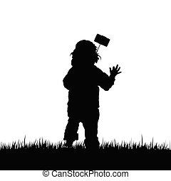 selfie, illustrazione, bambino