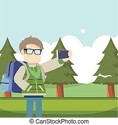 selfie, presa, viaggiatore, foresta