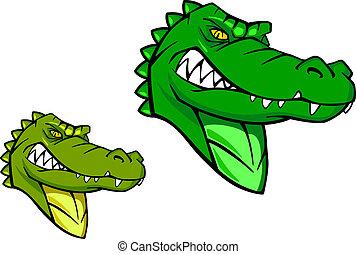 selvatico, alligatore, verde
