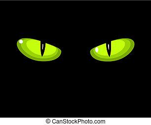 selvatico, occhi, gatto verde