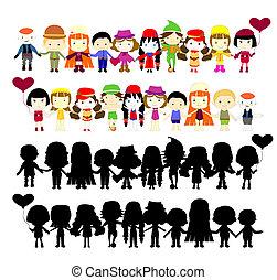 semplice, bambini, illustrazione, collezione
