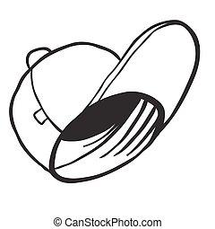 semplice, bianco, berretto, nero
