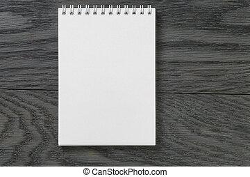 semplice, blocco note, rustico, legno, vuoto, tavola