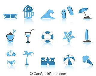 semplice, blu, icona, spiaggia, serie