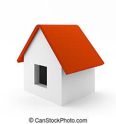 semplice, casa, bianco, render, 3d